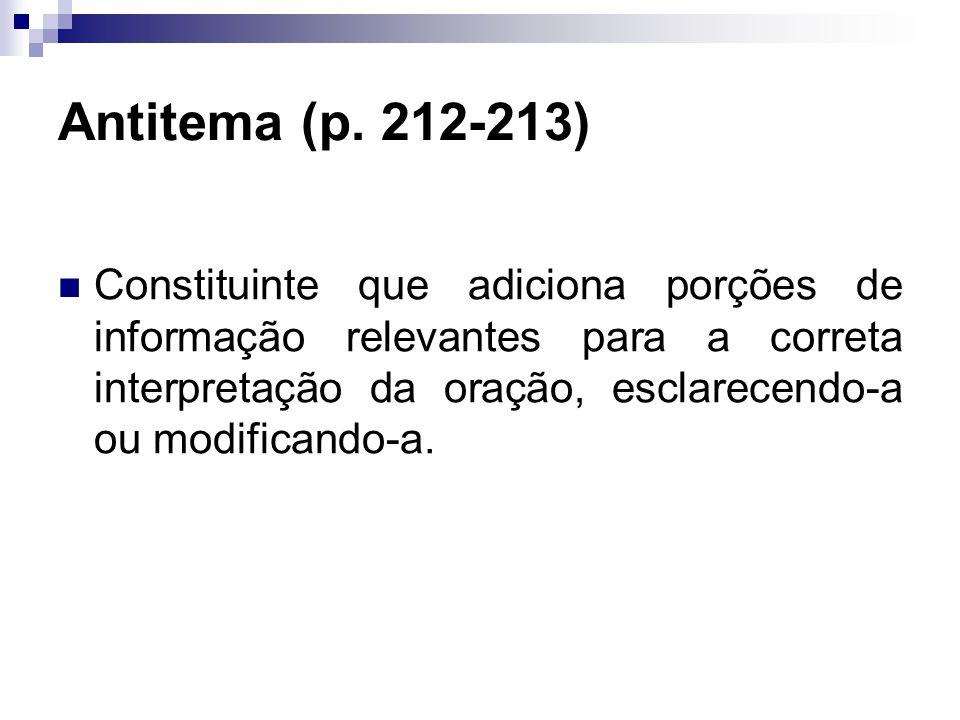 Antitema (p. 212-213) Constituinte que adiciona porções de informação relevantes para a correta interpretação da oração, esclarecendo-a ou modificando