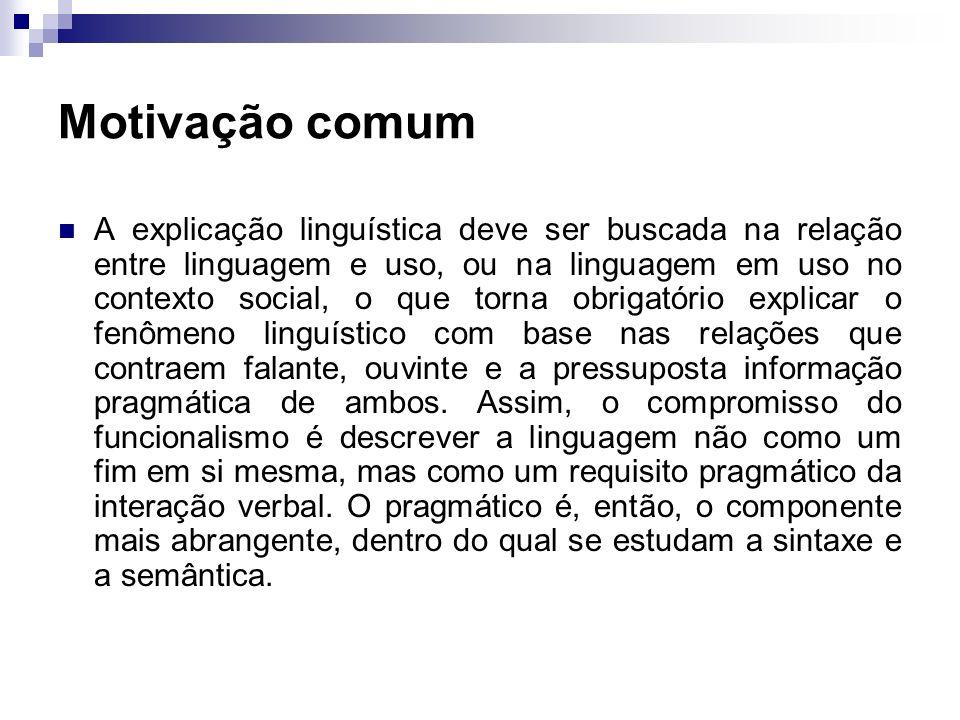 Motivação comum A explicação linguística deve ser buscada na relação entre linguagem e uso, ou na linguagem em uso no contexto social, o que torna obr