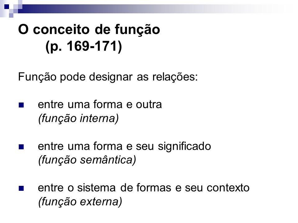 O conceito de função (p. 169-171) Função pode designar as relações: entre uma forma e outra (função interna) entre uma forma e seu significado (função