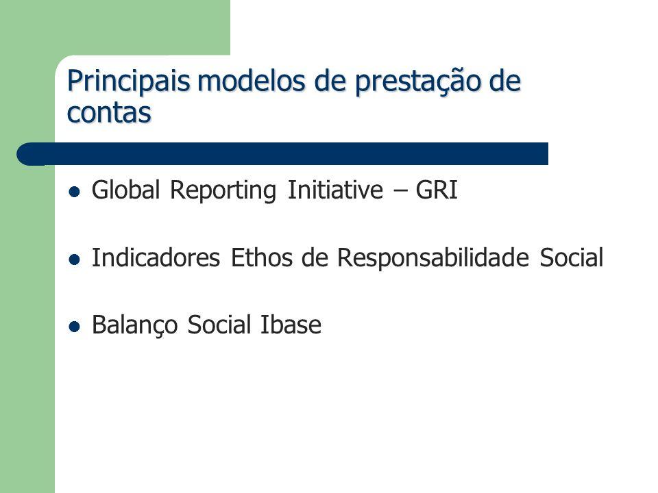 Principais modelos de prestação de contas Global Reporting Initiative – GRI Indicadores Ethos de Responsabilidade Social Balanço Social Ibase