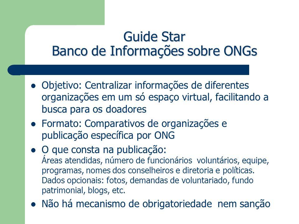 Guide Star Banco de Informações sobre ONGs Objetivo: Centralizar informações de diferentes organizações em um só espaço virtual, facilitando a busca p