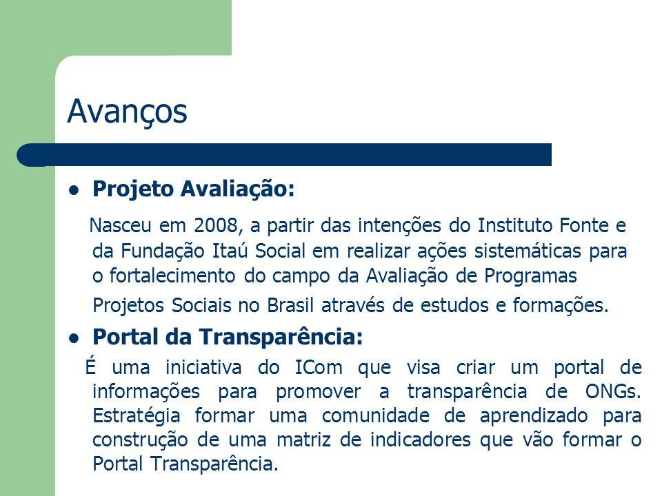 Avanços Projeto Avaliação: Nasceu em 2008, a partir das intenções do Instituto Fonte e da Fundação Itaú Social em realizar ações sistemáticas para o f
