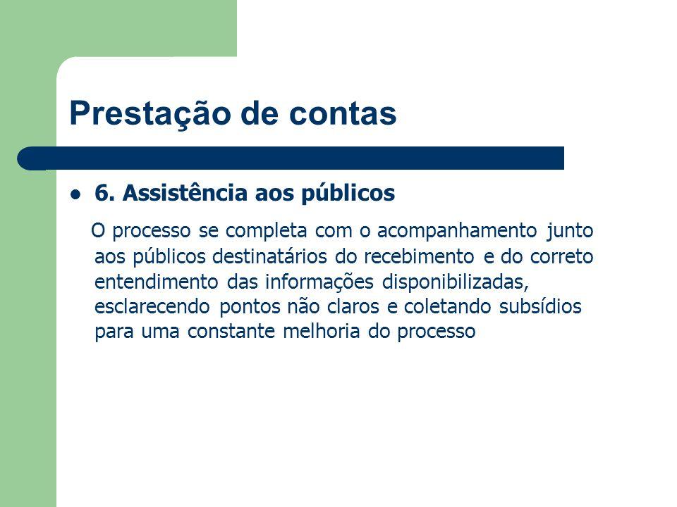 Prestação de contas 6. Assistência aos públicos O processo se completa com o acompanhamento junto aos públicos destinatários do recebimento e do corre