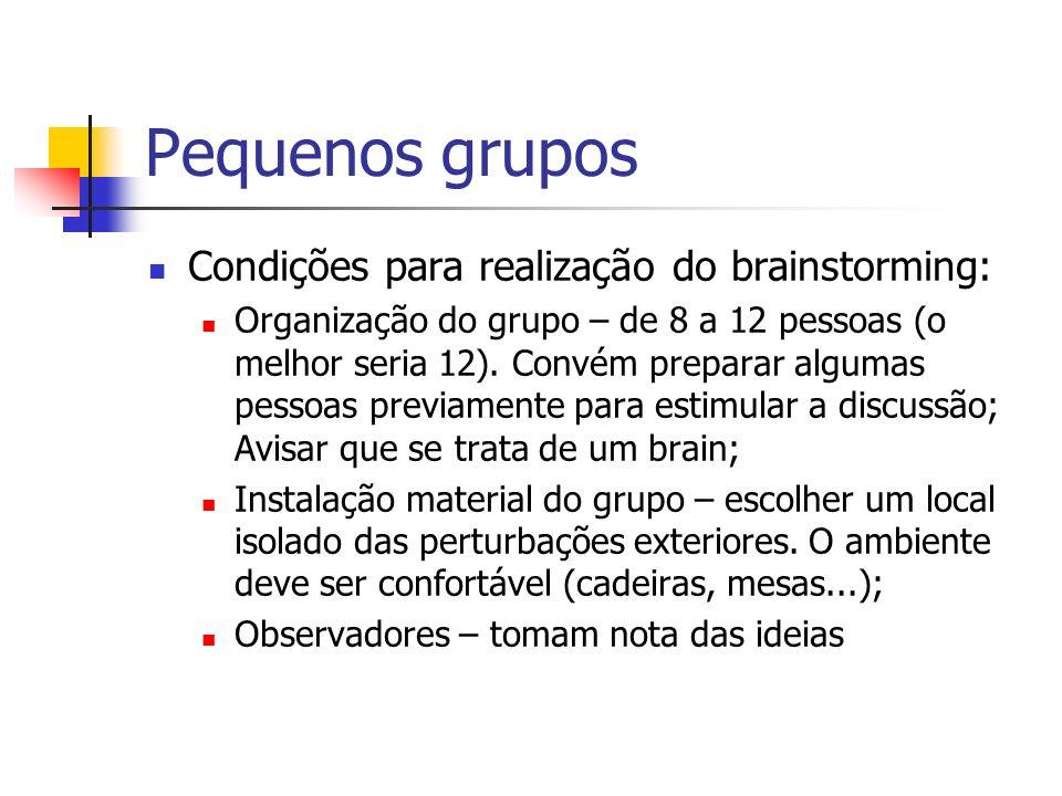 Pequenos grupos Condições para realização do brainstorming: Organização do grupo – de 8 a 12 pessoas (o melhor seria 12). Convém preparar algumas pess