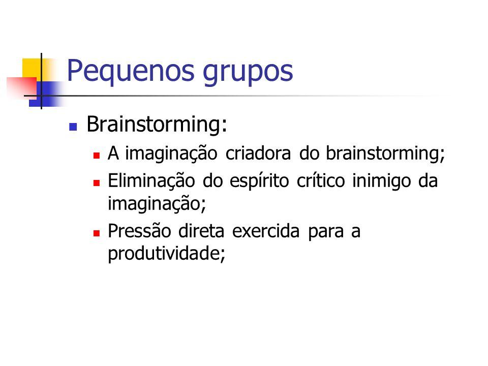 Pequenos grupos Brainstorming: A imaginação criadora do brainstorming; Eliminação do espírito crítico inimigo da imaginação; Pressão direta exercida p
