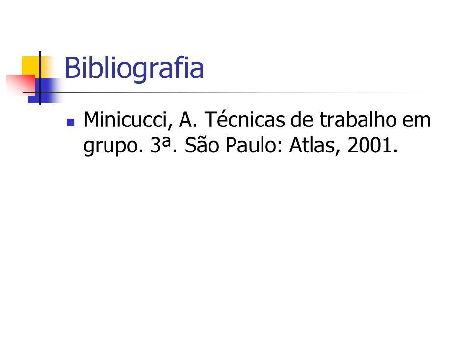 Bibliografia Minicucci, A. Técnicas de trabalho em grupo. 3ª. São Paulo: Atlas, 2001.