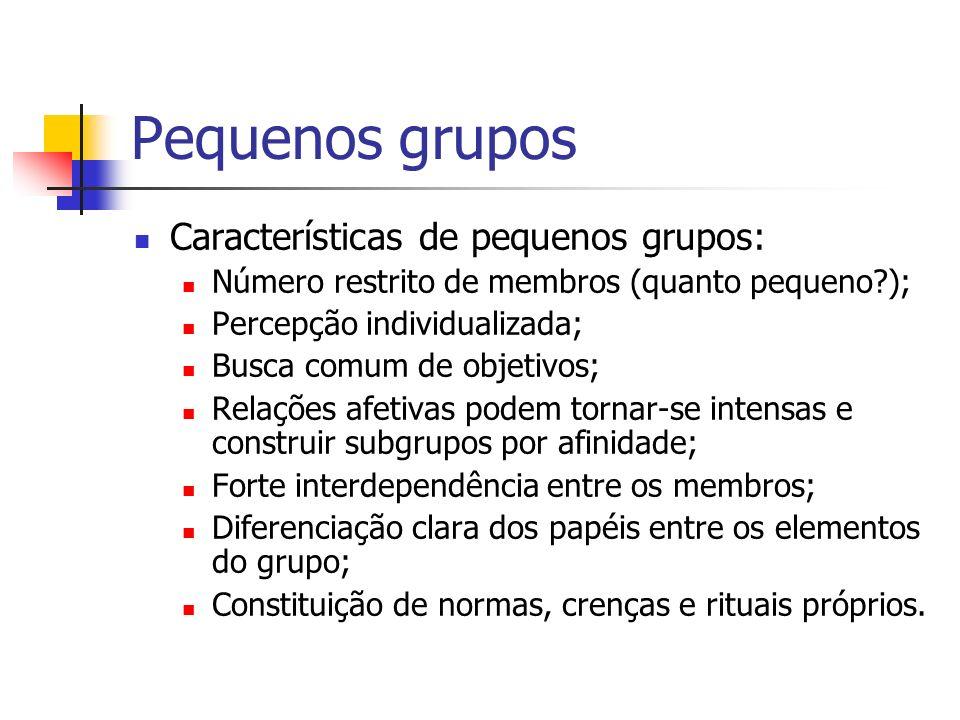 Pequenos grupos Características de pequenos grupos: Número restrito de membros (quanto pequeno?); Percepção individualizada; Busca comum de objetivos;