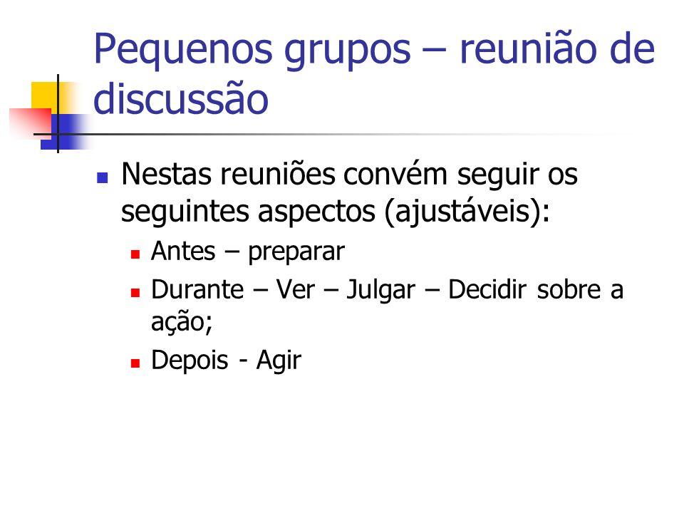 Pequenos grupos – reunião de discussão Nestas reuniões convém seguir os seguintes aspectos (ajustáveis): Antes – preparar Durante – Ver – Julgar – Dec