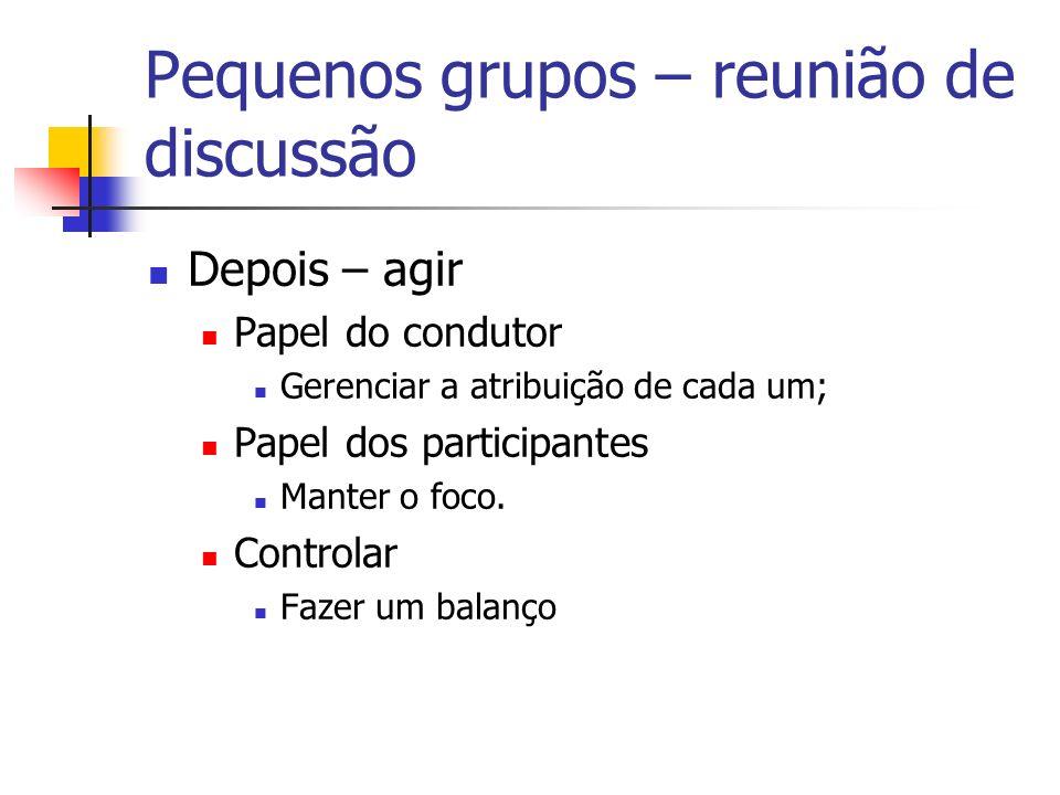 Pequenos grupos – reunião de discussão Depois – agir Papel do condutor Gerenciar a atribuição de cada um; Papel dos participantes Manter o foco. Contr