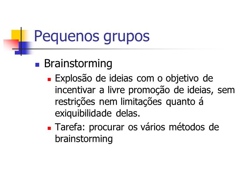Pequenos grupos Brainstorming Explosão de ideias com o objetivo de incentivar a livre promoção de ideias, sem restrições nem limitações quanto á exiqu