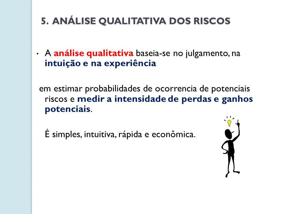 5. ANÁLISE QUALITATIVA DOS RISCOS A análise qualitativa baseia-se no julgamento, na intuição e na experiência em estimar probabilidades de ocorrencia
