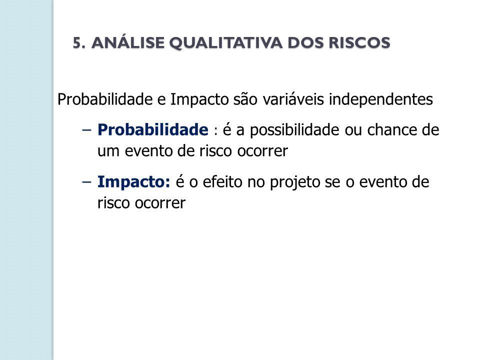 Probabilidade e Impacto são variáveis independentes –Probabilidade : é a possibilidade ou chance de um evento de risco ocorrer –Impacto: é o efeito no