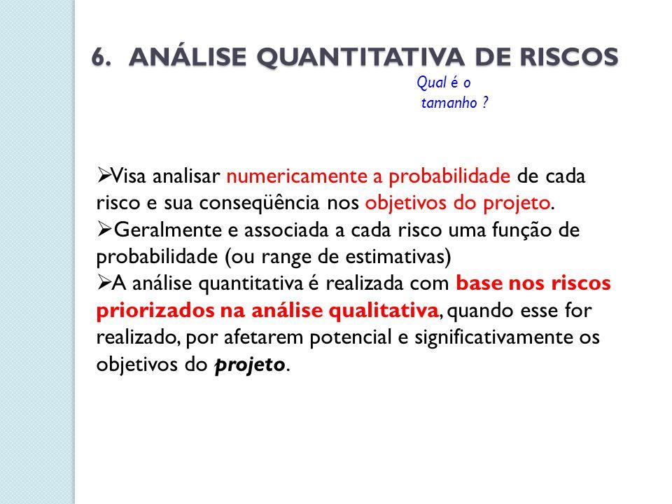 6. ANÁLISE QUANTITATIVA DE RISCOS Visa analisar numericamente a probabilidade de cada risco e sua conseqüência nos objetivos do projeto. Geralmente e