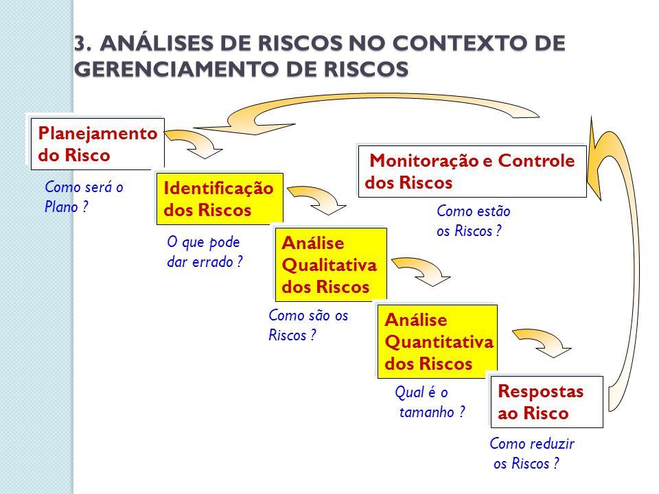 Planejamento do Risco Identificação dos Riscos Análise Qualitativa dos Riscos Análise Quantitativa dos Riscos Respostas ao Risco Monitoração e Control
