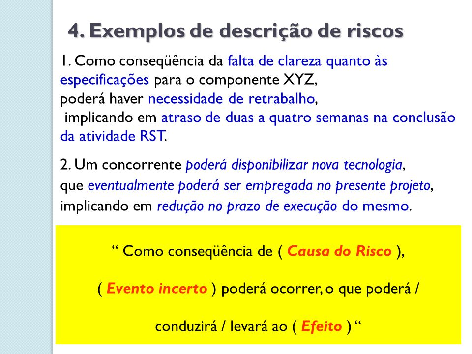Medida do Risco = Probabilidade x Impacto; alto Risco > 0.10 5.
