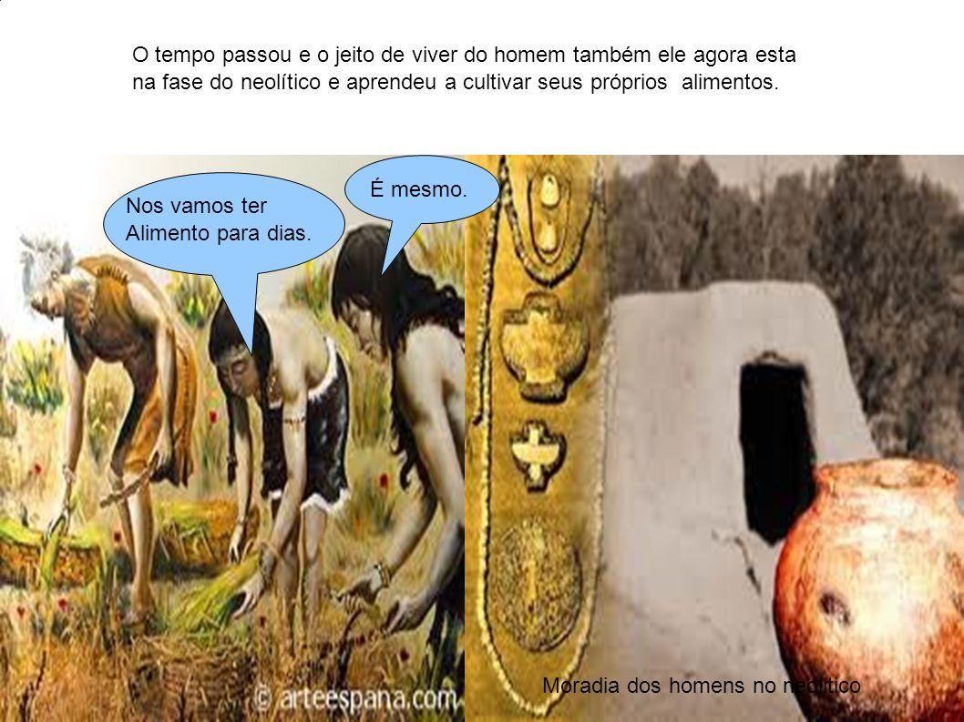 O tempo passou e o jeito de viver do homem também ele agora esta na fase do neolítico e aprendeu a cultivar seus próprios alimentos. n Moradia dos hom