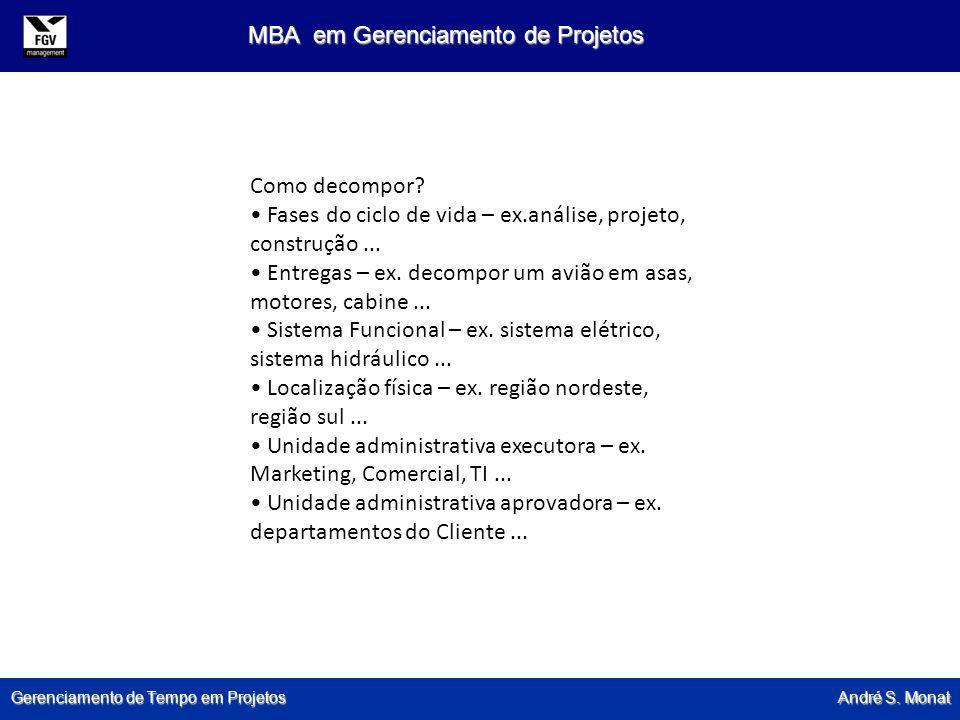 Gerenciamento de Tempo em Projetos André S. Monat MBA em Gerenciamento de Projetos Como decompor? Fases do ciclo de vida – ex.análise, projeto, constr