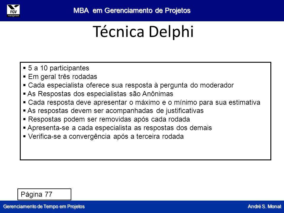 Gerenciamento de Tempo em Projetos André S. Monat MBA em Gerenciamento de Projetos Técnica Delphi 5 a 10 participantes Em geral três rodadas Cada espe