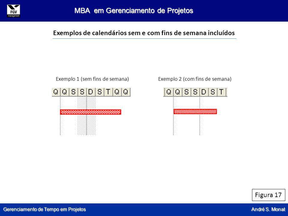 Gerenciamento de Tempo em Projetos André S. Monat MBA em Gerenciamento de Projetos Figura 17 Exemplos de calendários sem e com fins de semana incluído