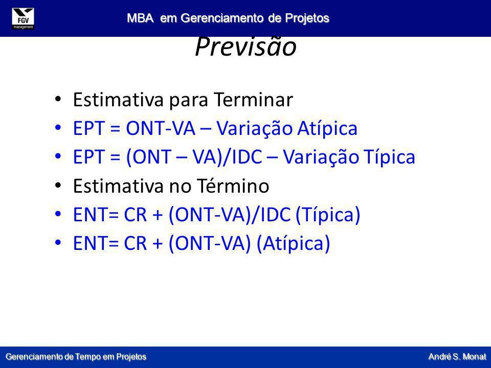 Gerenciamento de Tempo em Projetos André S. Monat MBA em Gerenciamento de Projetos Previsão Estimativa para Terminar EPT = ONT-VA – Variação Atípica E