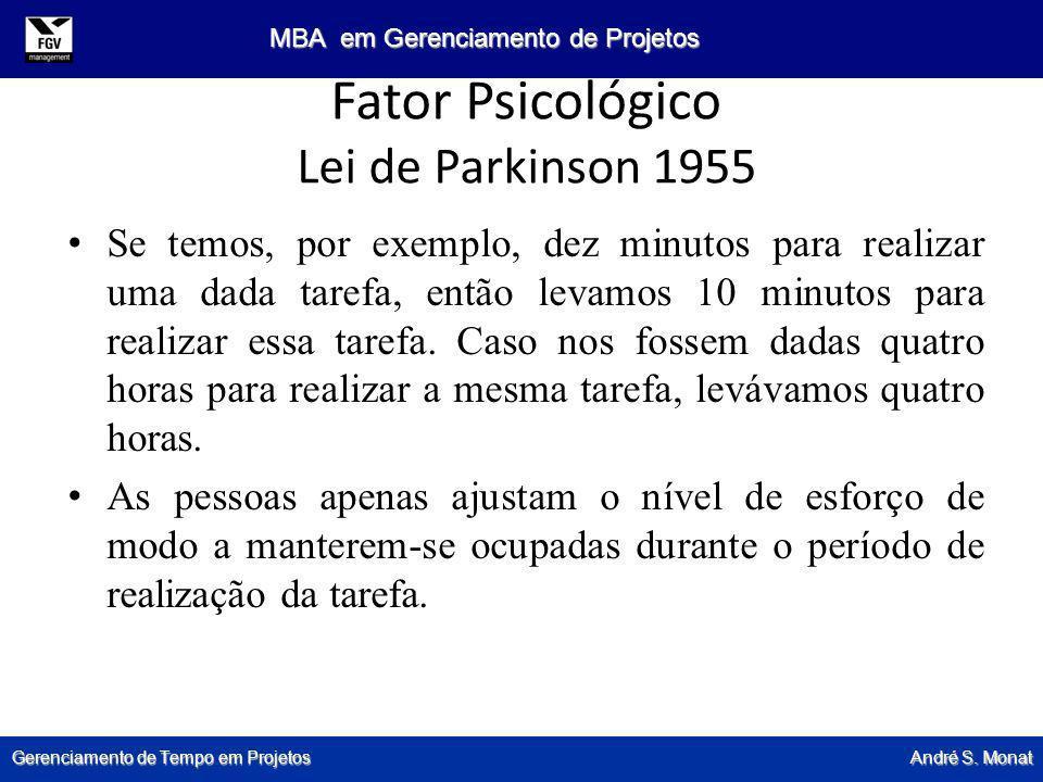Gerenciamento de Tempo em Projetos André S. Monat MBA em Gerenciamento de Projetos Fator Psicológico Lei de Parkinson 1955 Se temos, por exemplo, dez