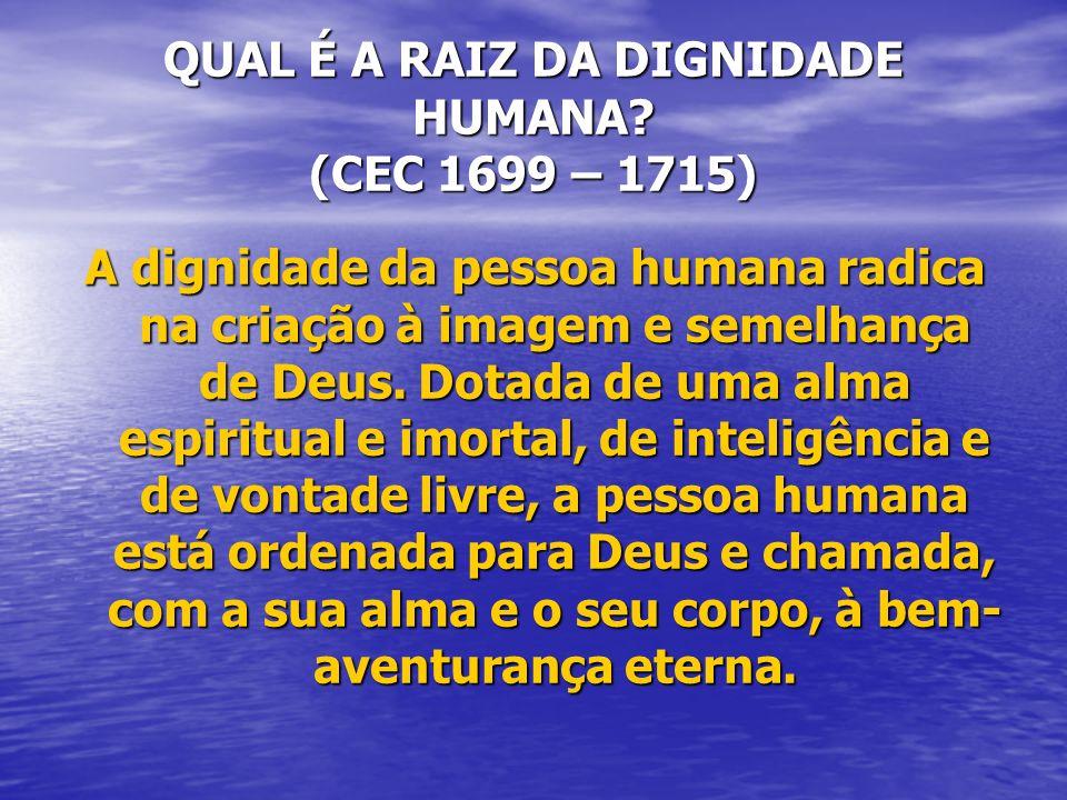 QUAL É A RAIZ DA DIGNIDADE HUMANA? (CEC 1699 – 1715) A dignidade da pessoa humana radica na criação à imagem e semelhança de Deus. Dotada de uma alma