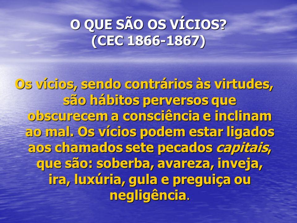 O QUE SÃO OS VÍCIOS? (CEC 1866-1867) Os vícios, sendo contrários às virtudes, são hábitos perversos que obscurecem a consciência e inclinam ao mal. Os