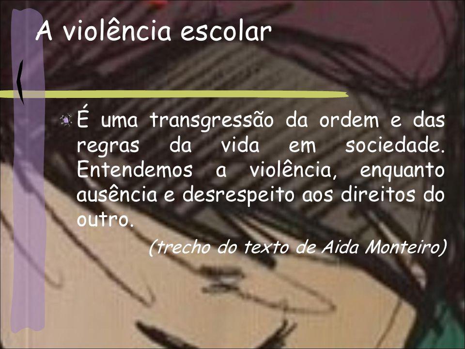 A violência escolar É uma transgressão da ordem e das regras da vida em sociedade.