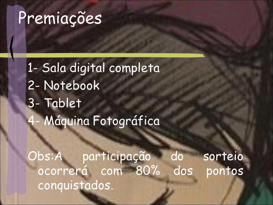 Premiações 1- Sala digital completa 2- Notebook 3- Tablet 4- Máquina Fotográfica Obs:A participação do sorteio ocorrerá com 80% dos pontos conquistados.