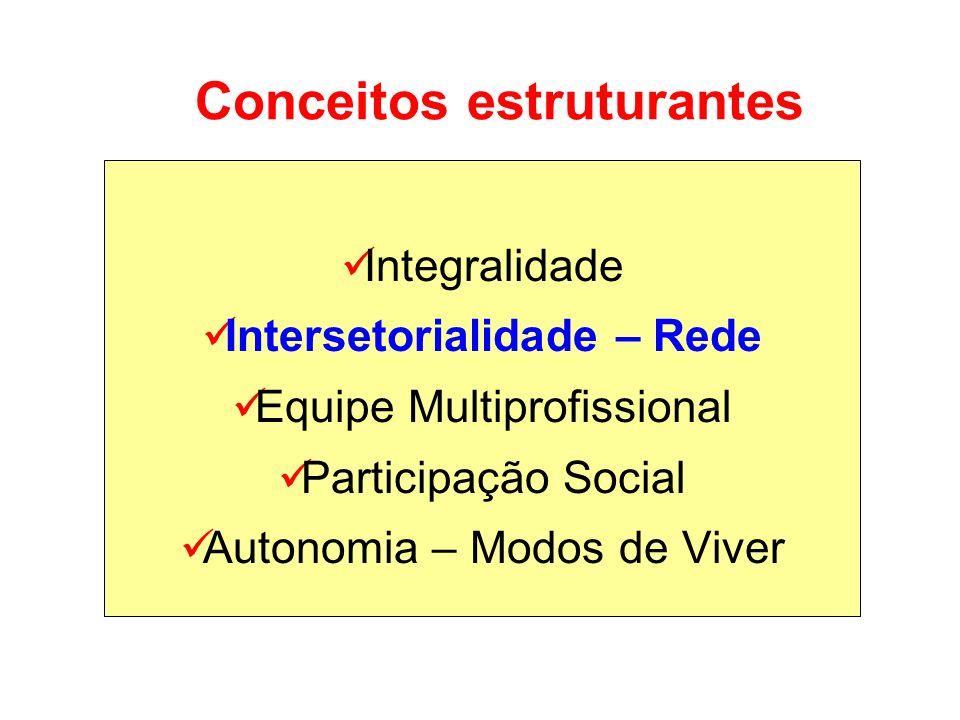 Conceitos estruturantes Integralidade Intersetorialidade – Rede Equipe Multiprofissional Participação Social Autonomia – Modos de Viver