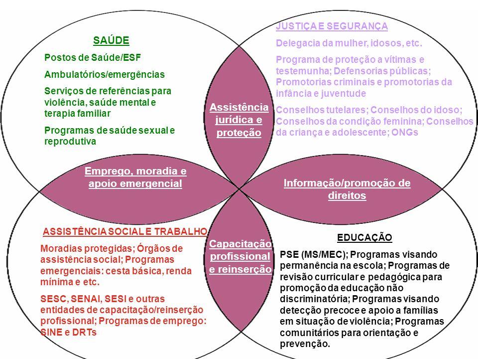 SAÚDE Postos de Saúde/ESF Ambulatórios/emergências Serviços de referências para violência, saúde mental e terapia familiar Programas de saúde sexual e