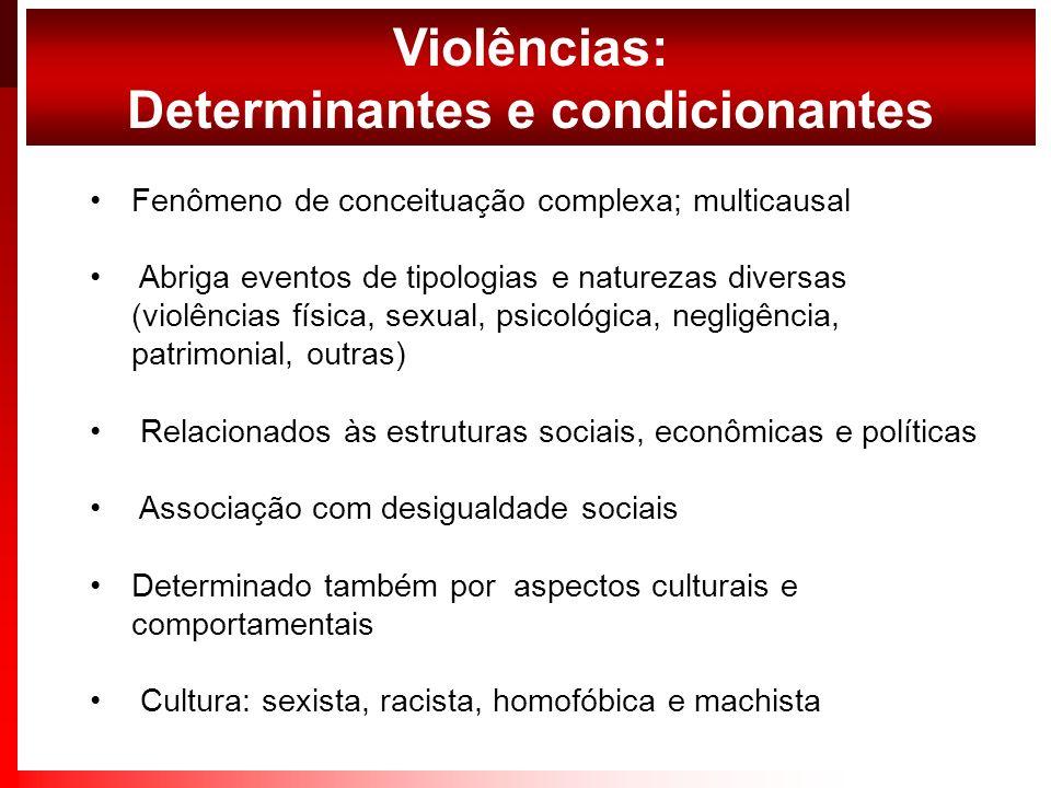 Fenômeno de conceituação complexa; multicausal Abriga eventos de tipologias e naturezas diversas (violências física, sexual, psicológica, negligência,