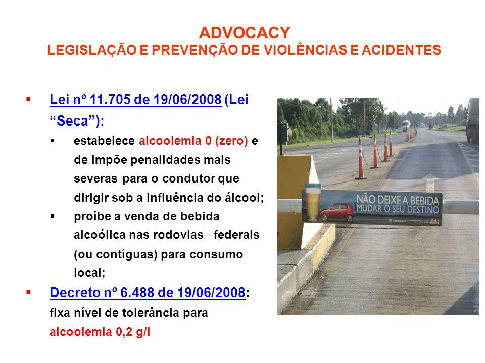 Lei nº 11.705 de 19/06/2008 (Lei Seca): estabelece alcoolemia 0 (zero) e de impõe penalidades mais severas para o condutor que dirigir sob a influênci