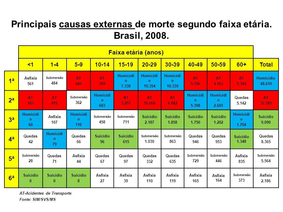 Principais causas externas de morte segundo faixa etária. Brasil, 2008. AT-Acidentes de Transporte Fonte: SIM/SVS/MS Faixa etária (anos) <11-45-910-14