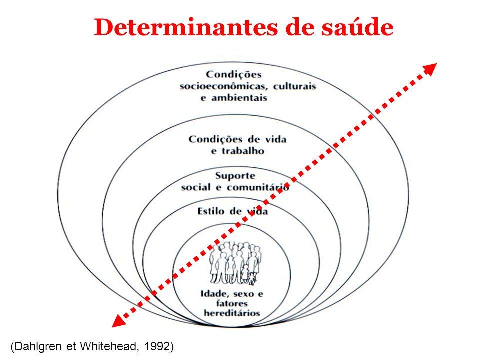 (Dahlgren et Whitehead, 1992) Determinantes de saúde Nesse contexto insere-se as violências e os acidentes e o processo saúde-doença