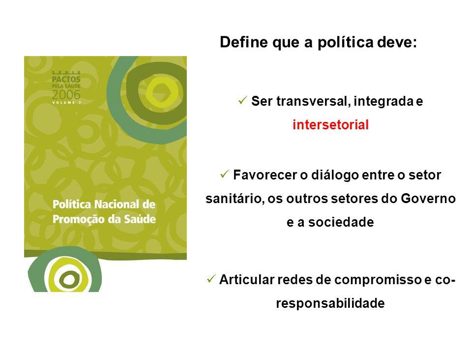 Define que a política deve: Ser transversal, integrada e intersetorial Favorecer o diálogo entre o setor sanitário, os outros setores do Governo e a s