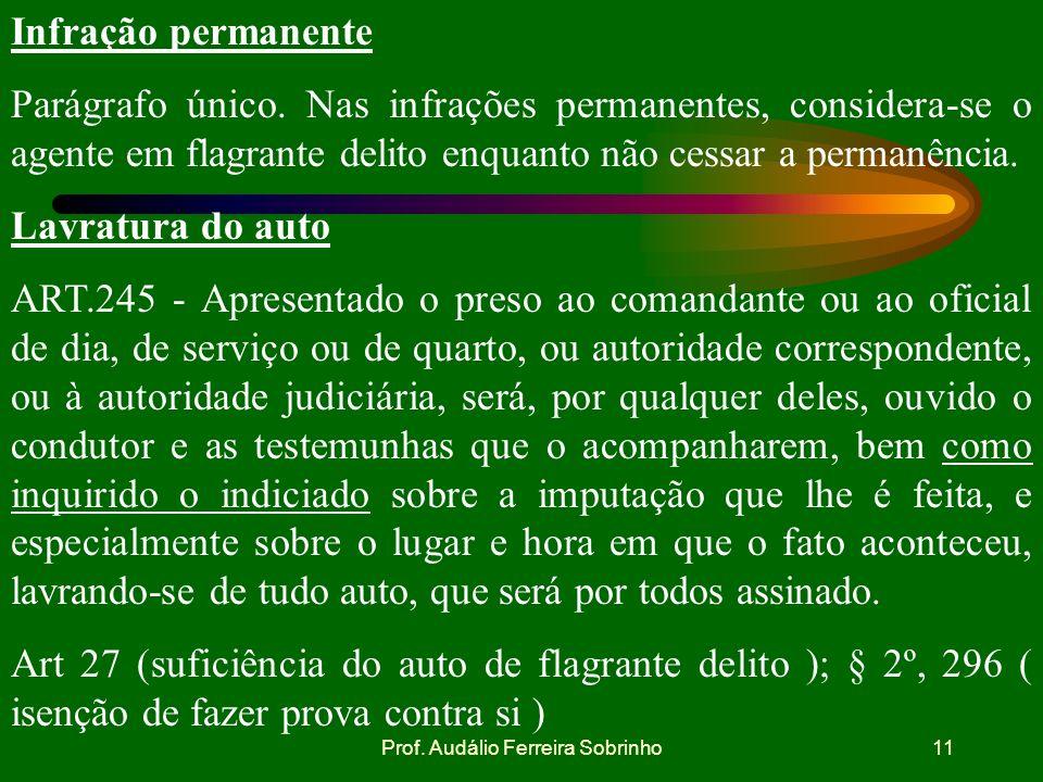 Prof. Audálio Ferreira Sobrinho10 Pessoas que efetuam prisão em flagrante ART.243 - Qualquer pessoa poderá e os militares deverão prender quem for ins