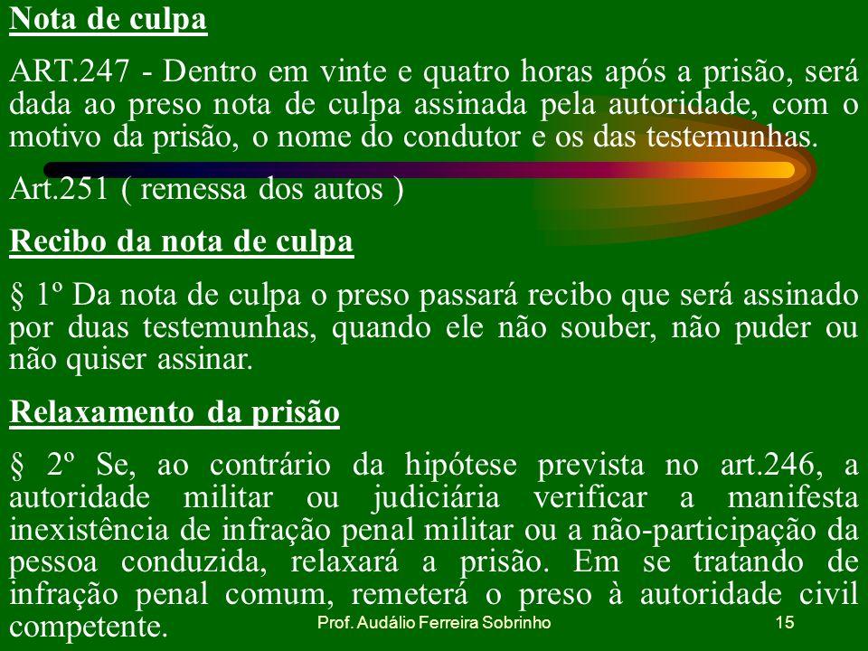 Prof. Audálio Ferreira Sobrinho14 Falta ou impedimento de escrivão § 5º Na falta ou impedimento de escrivão ou das pessoas referidas no parágrafo ante