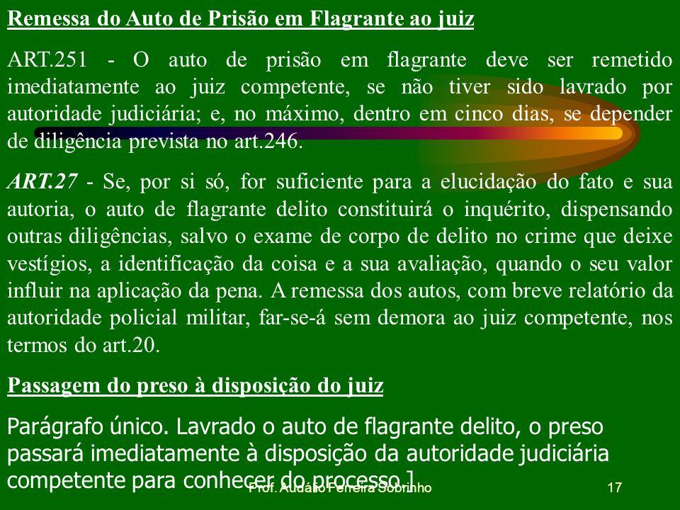 Prof. Audálio Ferreira Sobrinho16 Registro das ocorrências ART.248 - Em qualquer hipótese, de tudo quanto ocorrer será lavrado auto ou termo, para rem