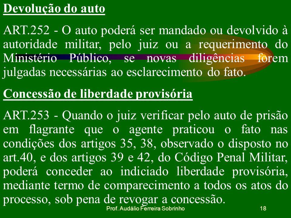 Prof. Audálio Ferreira Sobrinho17 Remessa do Auto de Prisão em Flagrante ao juiz ART.251 - O auto de prisão em flagrante deve ser remetido imediatamen