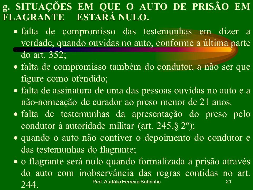 Prof. Audálio Ferreira Sobrinho20 f. REMESSA DO AUTO DE PRISÃO EM FLAGRANTE DELITO AO JUIZ. O auto de prisão em flagrante deve ser remetido imediatame