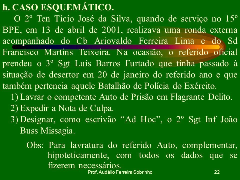 Prof. Audálio Ferreira Sobrinho21 g. SITUAÇÕES EM QUE O AUTO DE PRISÃO EM FLAGRANTE ESTARÁ NULO. falta de compromisso das testemunhas em dizer a verda