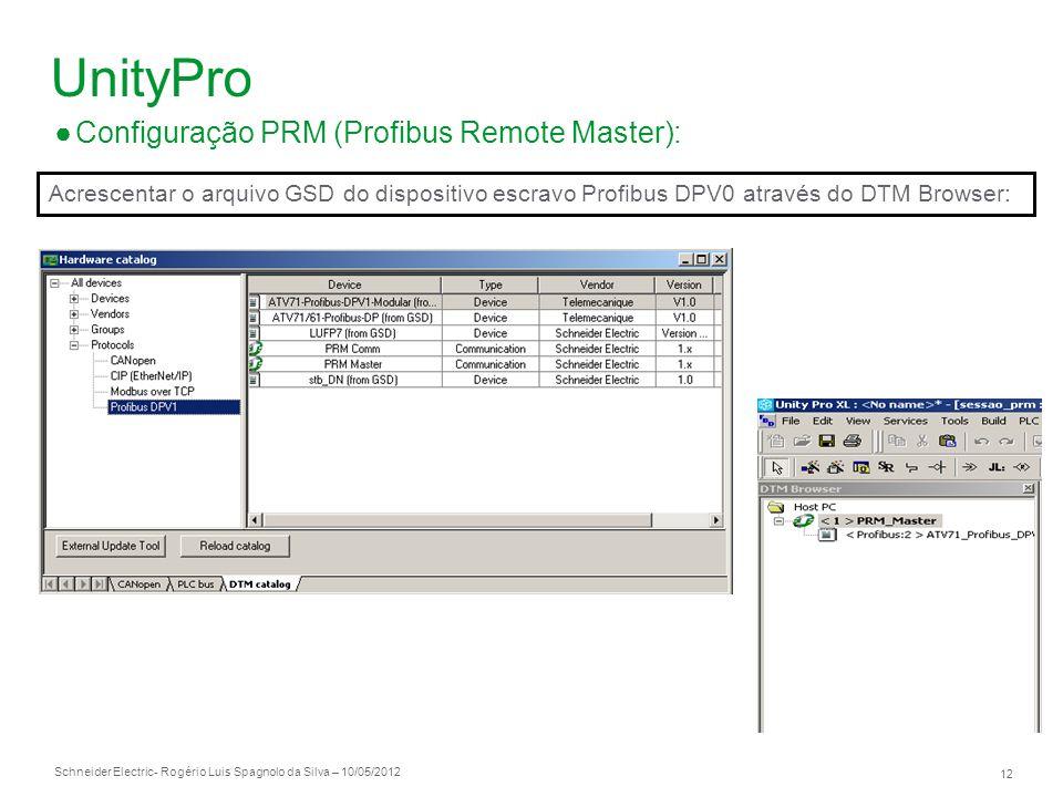 Schneider Electric 12 - Rogério Luis Spagnolo da Silva – 10/05/2012 UnityPro Configuração PRM (Profibus Remote Master): Acrescentar o arquivo GSD do d