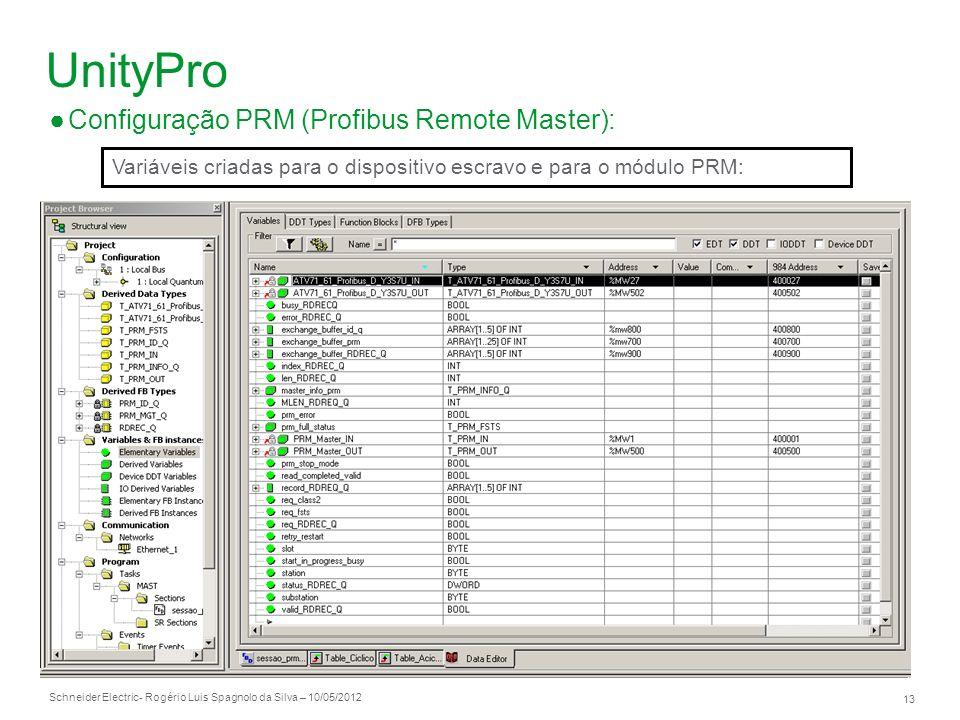 Schneider Electric 13 - Rogério Luis Spagnolo da Silva – 10/05/2012 UnityPro Configuração PRM (Profibus Remote Master): Variáveis criadas para o dispo