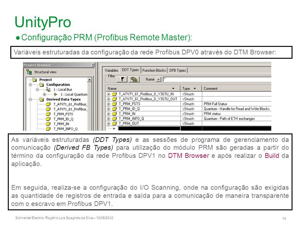 Schneider Electric 14 - Rogério Luis Spagnolo da Silva – 10/05/2012 UnityPro Configuração PRM (Profibus Remote Master): Variáveis estruturadas da conf