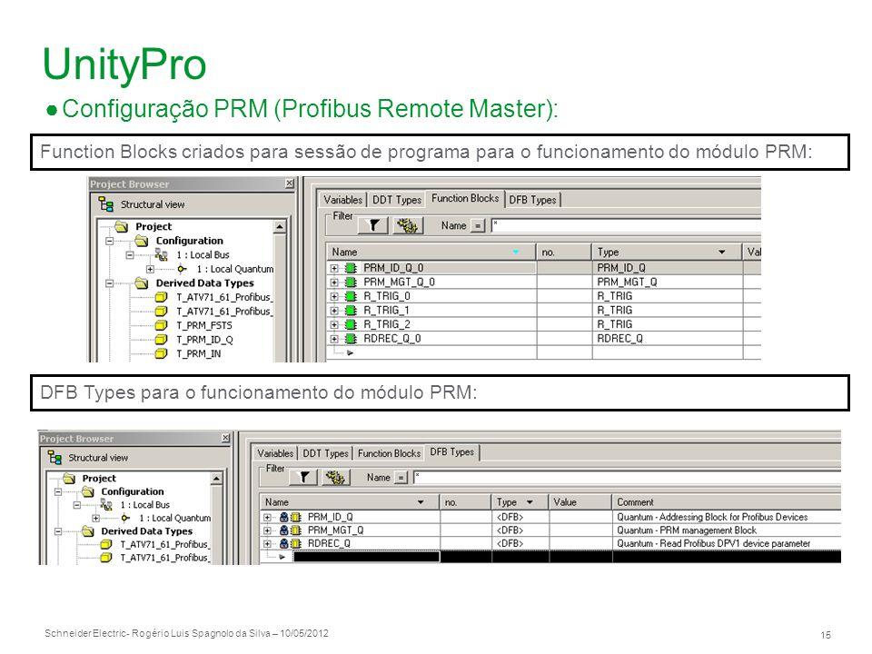 Schneider Electric 15 - Rogério Luis Spagnolo da Silva – 10/05/2012 UnityPro Configuração PRM (Profibus Remote Master): DFB Types para o funcionamento