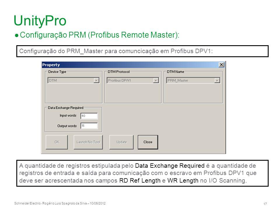 Schneider Electric 17 - Rogério Luis Spagnolo da Silva – 10/05/2012 UnityPro Configuração PRM (Profibus Remote Master): Configuração do PRM_Master par