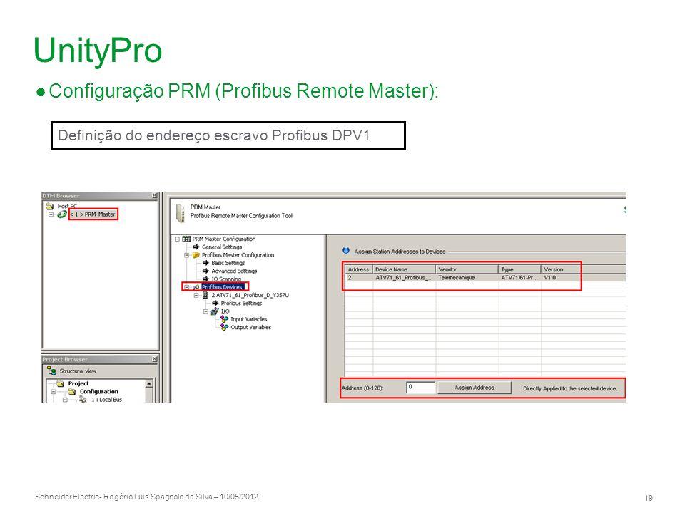 Schneider Electric 19 - Rogério Luis Spagnolo da Silva – 10/05/2012 UnityPro Configuração PRM (Profibus Remote Master): Definição do endereço escravo
