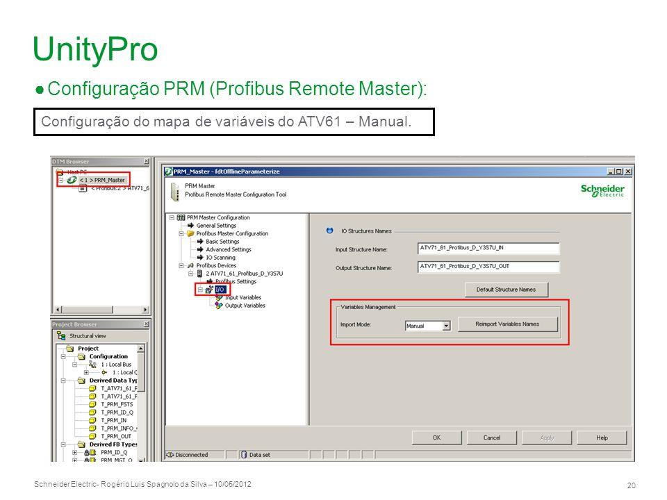 Schneider Electric 20 - Rogério Luis Spagnolo da Silva – 10/05/2012 UnityPro Configuração PRM (Profibus Remote Master): Configuração do mapa de variáv