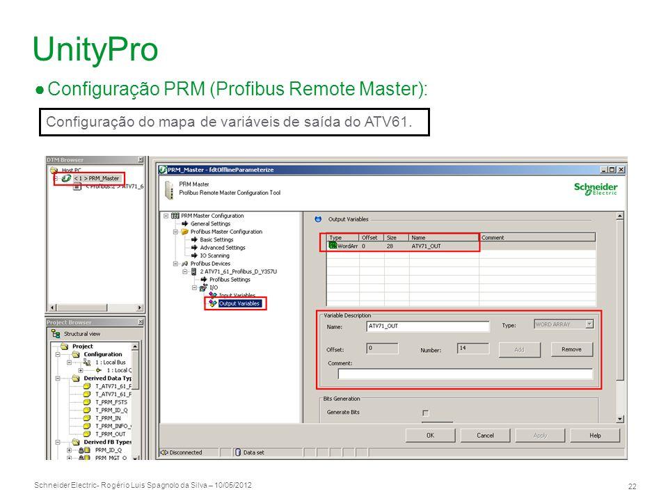 Schneider Electric 22 - Rogério Luis Spagnolo da Silva – 10/05/2012 UnityPro Configuração PRM (Profibus Remote Master): Configuração do mapa de variáv